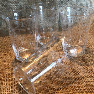 Vintage Set of Four Etched Glasses